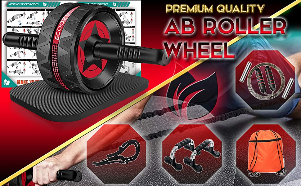 Ab roller wheel with push up bar, drawstring gym bag, resistance bands and jump rope