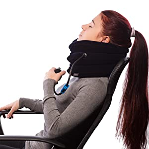 Neck Pain Inflatable Spinal Decompression Collar Unit Muscle Strain Relief Neck Traction Device