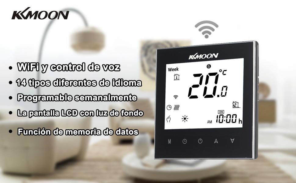 Termostato Inteligente para Caldera de Gas,Wifi Regulador de Sistema,Controlador con Pantalla Negativa Táctil LCD,Programable 5A AC 95-240V (WIFI, ...