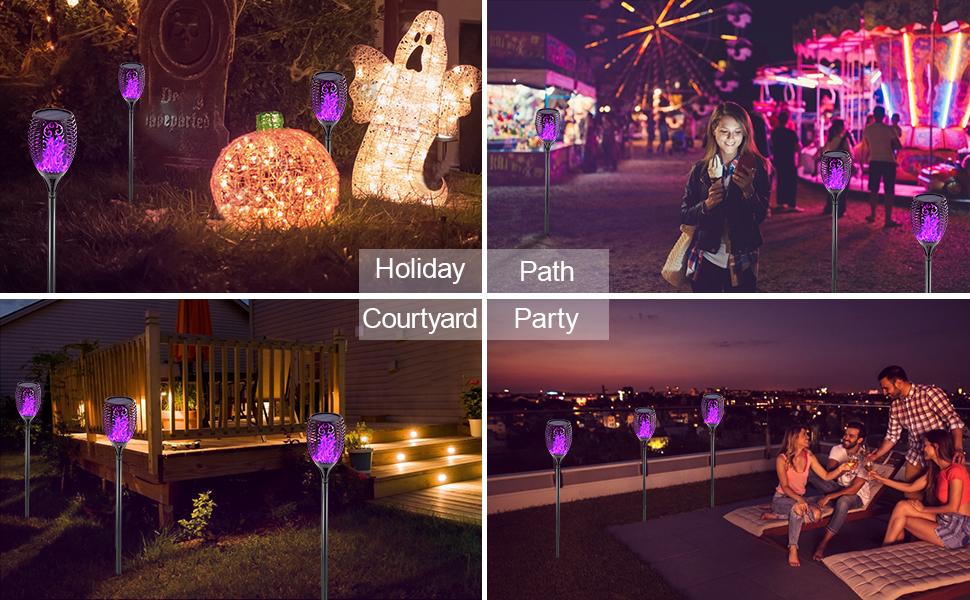 Outdoor Solar Halloween Light Torch Garden Flickering Flame Patio Decorations Landscape Waterproof