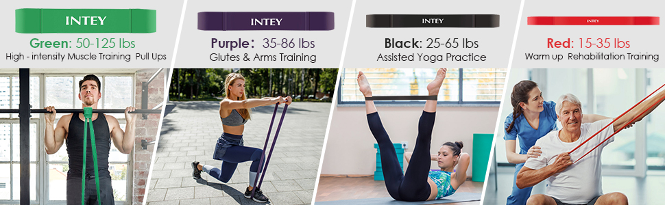 INTEY Resistance Bands - 4PCS Latex Durable Pull Up Assist Bands for CrossFit, Stretching, Powerlifting, Home Gym, Workout Bands for Men and Women