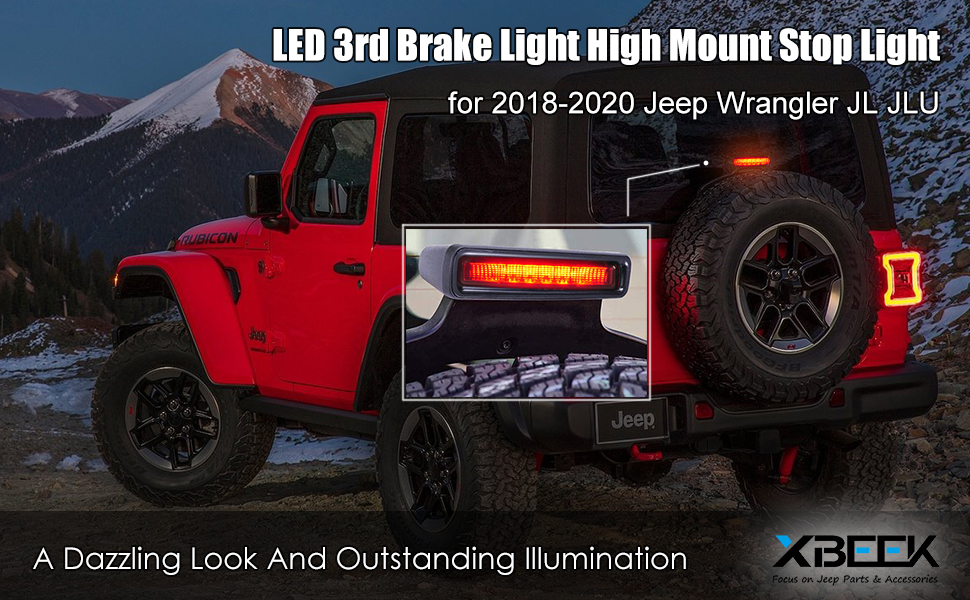 LED 3rd Brake Light for Jeep Wrangler JL JLU 2018 2019 2020 Third Brake Light High Mount Stop Light -Smoke Lens