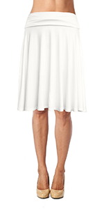 Rayon Flared Knee Length Skirt