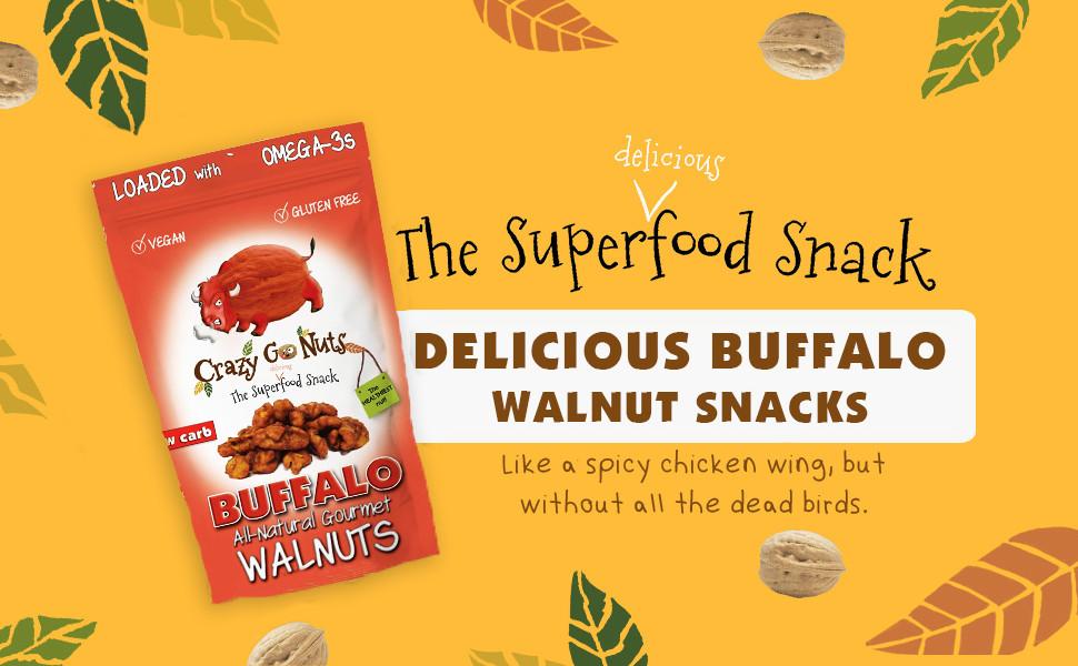 buffalo walnut snacks crazy go nuts vegan gluten free keto low carb crunchy health natural superfood