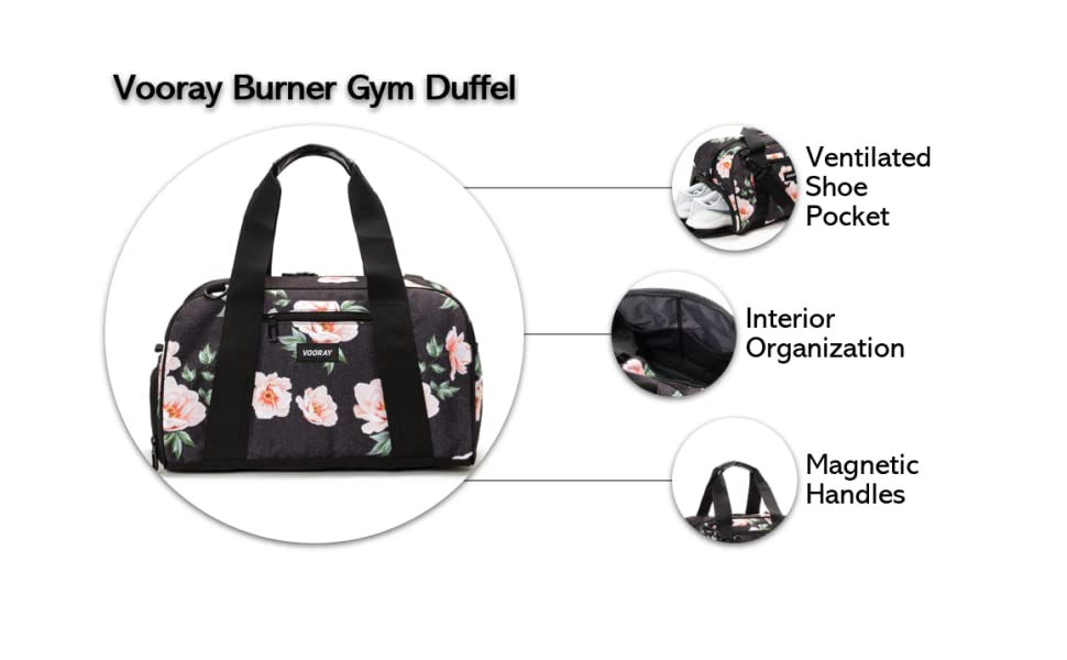 vooray burner gym duffel ventilated shoe pocket interior organization magnetic handles premium