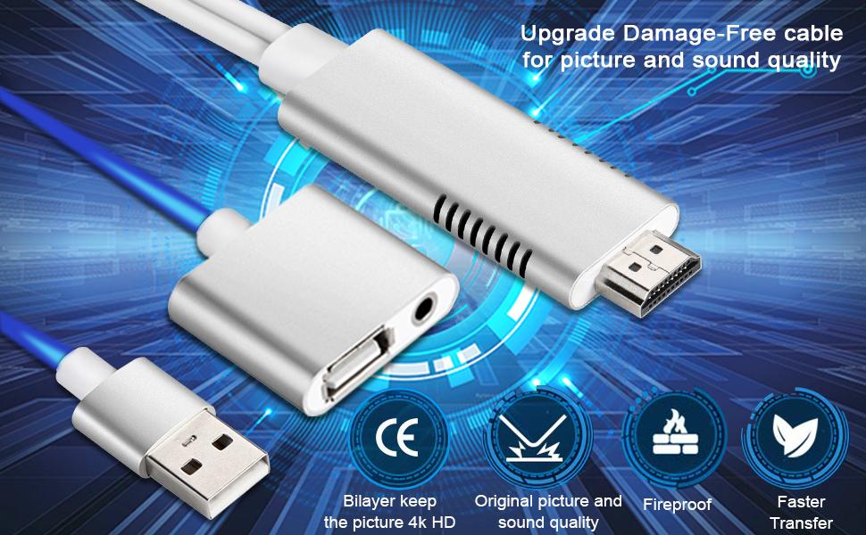 HML Cable USB a HDMI con Adaptador para Iphone Video a HDMI 1080P