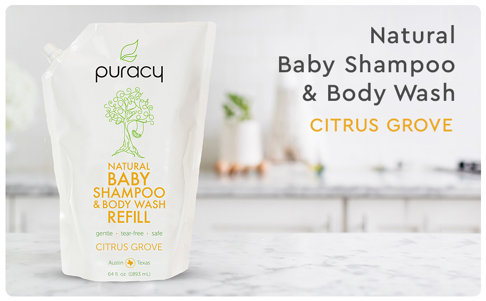 Puracy Natural Baby Shampoo & Body Wash - Citrus Grove Refill