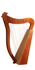 Celtic Irish Harp 15 Strings with Tuning Wrench and Carry Bag-Mahogany
