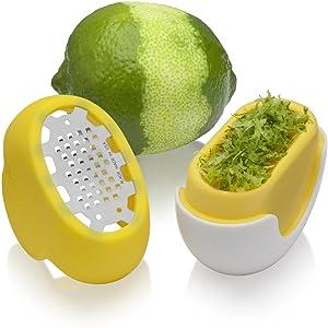 Microplane flexi zesti yellow lime citrus zester catch tray rubber top silicone fresh zest