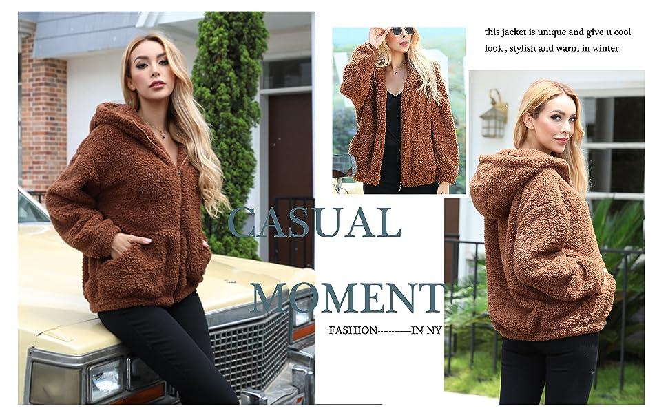 women hooded jacket coat outwear sherpa fleece coat