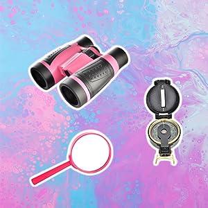Girls binoculars compass magnifying glass adventure kit unicorn toys for girls outdoor play