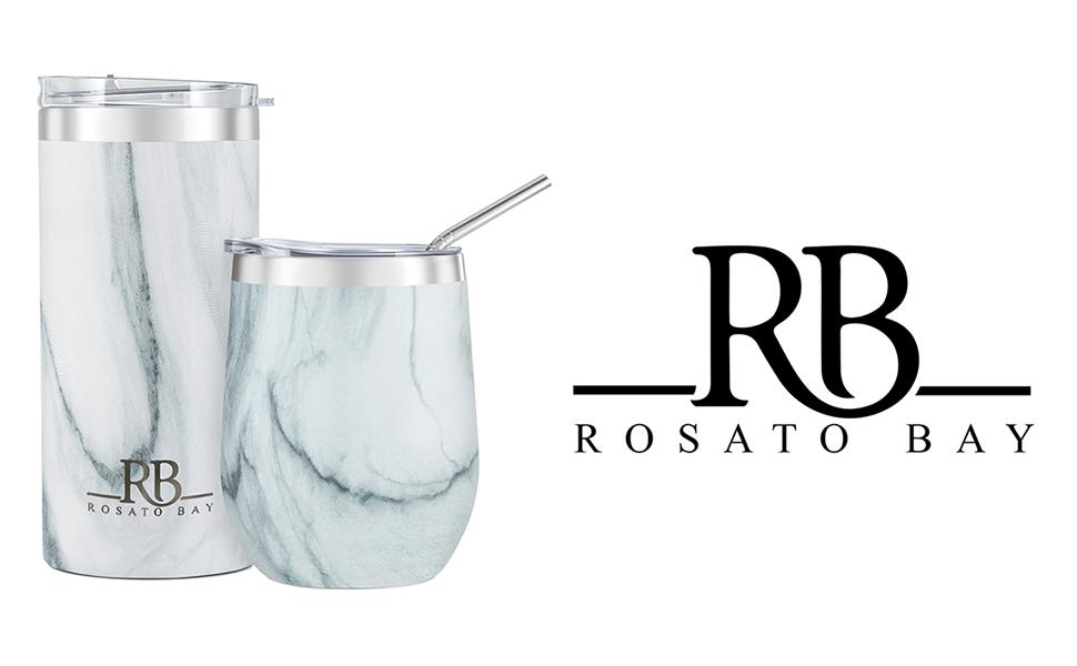 Marble 16 oz and 12 oz tumbler with Rosato Bay logo