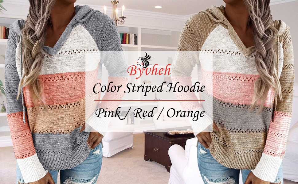 Byvheh Women's Lightweight Color Block Hooded Sweaters Drawstring Hoodies Pullover Sweatshirts