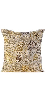 Gold Dust Rose Pillow Covers