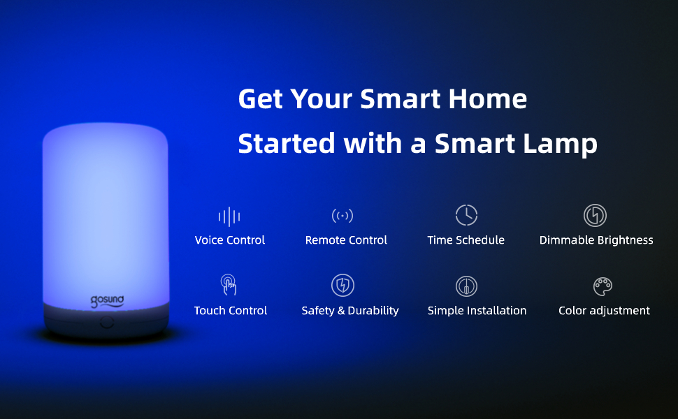 gosund smart led wifi bedside table desk lamp works with alexa google home