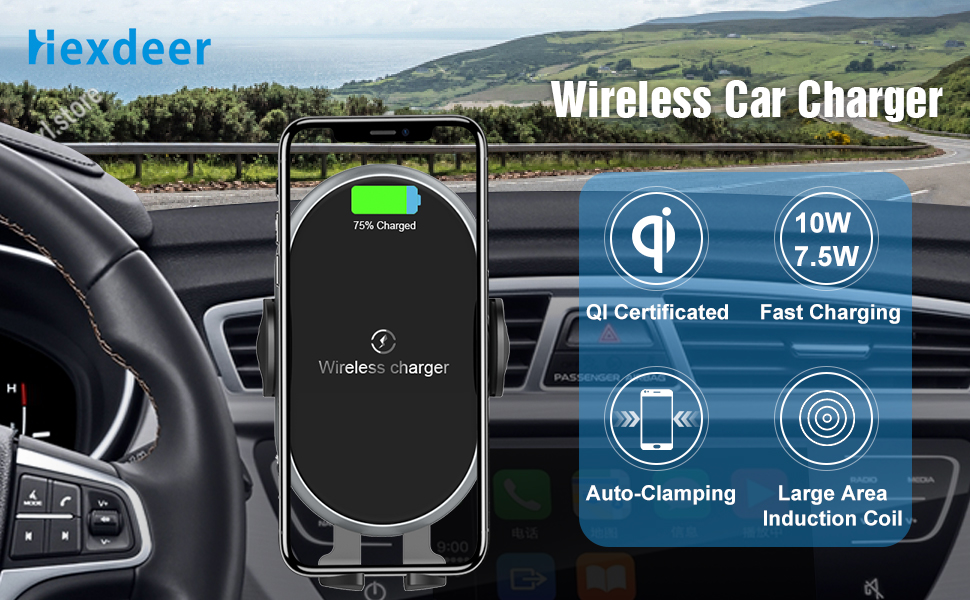 Hexdeer 10W//7.5W Qi Fast Charging Auto Clamping Car Wireless Charger Mount with QC 3.0 Fast Charger Dashboard Windshield Air Vent Phone Holder for Smartphones Qi Certified Wireless Car Charger