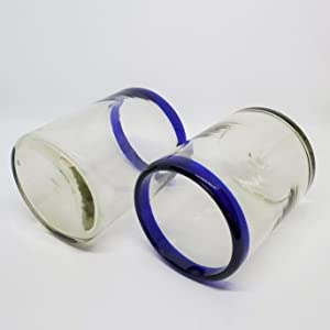 Two Cobalt Blue Rim Tumblers lying on their side