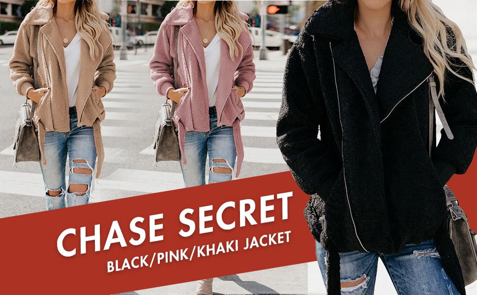 Faux Shearling Zipper Warm Winter Oversized Outwear Jackets
