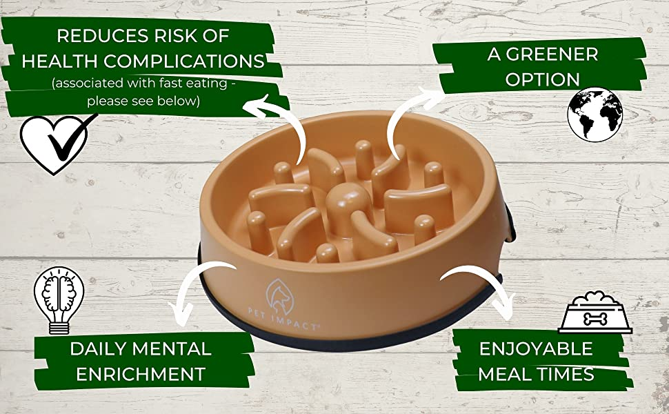 slowing down eating bowl for pets bamboo fibre
