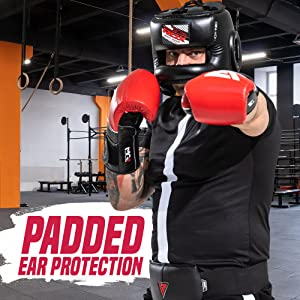 Headguard for Boxing, MMA Training - Leather Head Guard with Face Bar, Cheeks, Ear, Mouth Protection