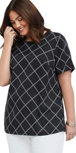 Plus Size Black and White Print Top