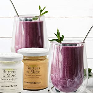 Butters & and more smoothie maker vegan nut butter berries keto almond peanut coconut filter coffee