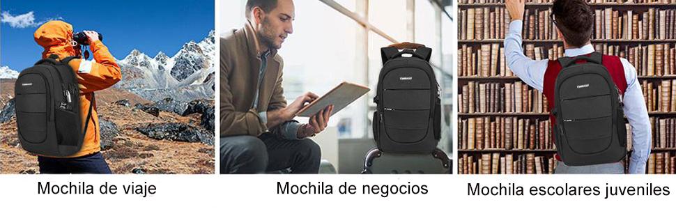 Mochila 17.3 Pulgadas Hombre con Puerto de USB Mochila Antirrobo Impermeable