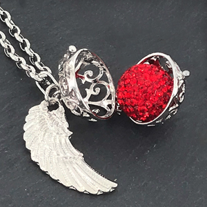 Collana donna argento chiama angelo ciondolo ornamentale e sfera Morella palla sana tintinnio Prime