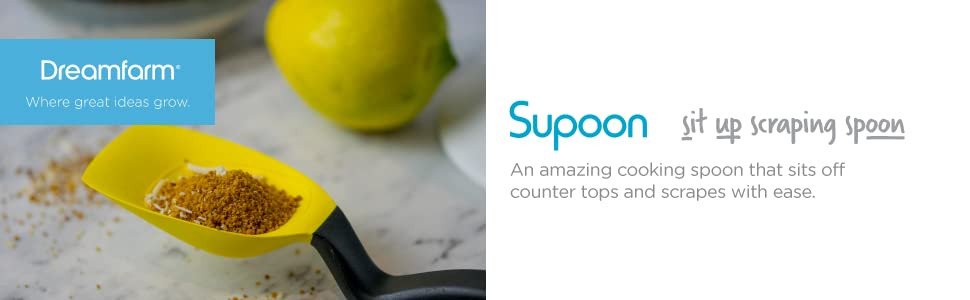 dreamfarm supoon the sit up spoon and measuring cup scraper scraping