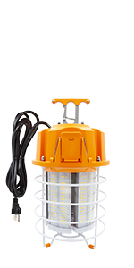 Maxxima High Bay LED Temporary Work Light Fixture Plug in Stainless Steel Cage Guard Linkable Easy Latch Mounting 150 Watt 18000 Lumens Daylight 5000K