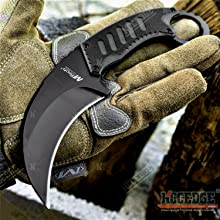 "7.5"" Full Tang Tactical Karambit G10 Handle Scales Pressure Retention Sheath"