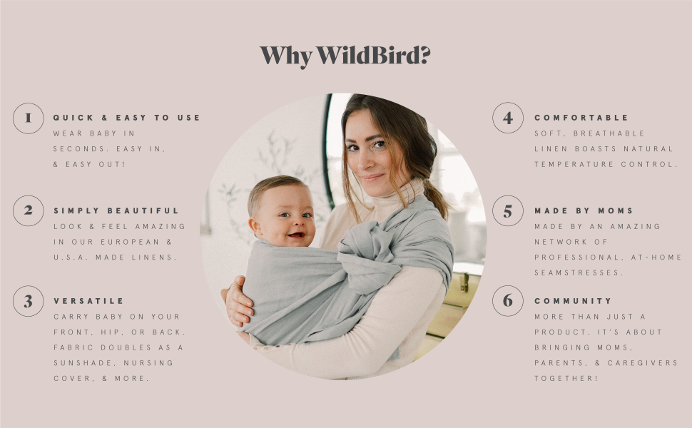 WildBird Ring Sling Baby Carrier Made from 100/% Belgian Linen Cayana Fabric//Black Ring Solid Color Newborns to Toddlers -