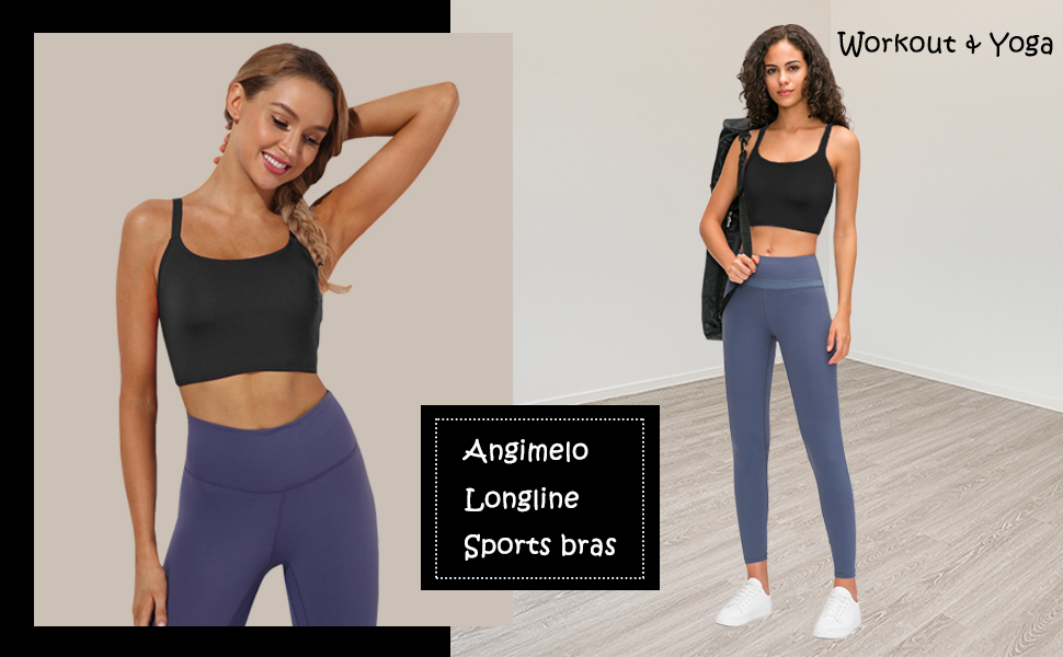 Womens Girls Workout Sports Bra Padded Longline Crop Top Strappy Fitness Yoga Tank Cami Running Vest