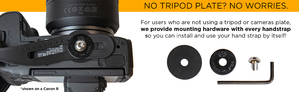 SpiderPro Hand Strap v2 can be used without a camera plate by using the provided install hardware.