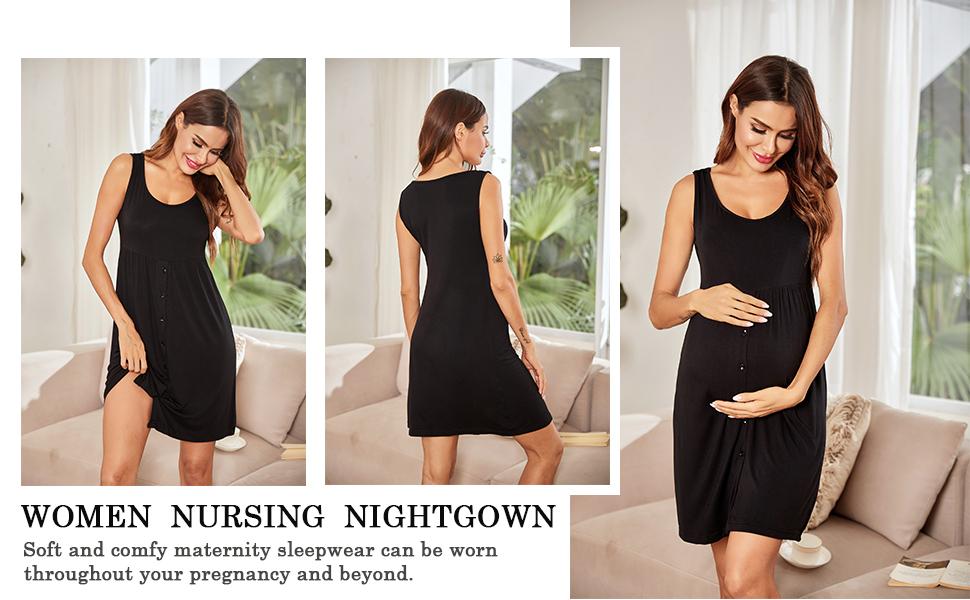 Ekouaer Nursing Dress,Maternity Nightgown Women's Delivery/Labor Breastfeeding Sleep Dress Delivery