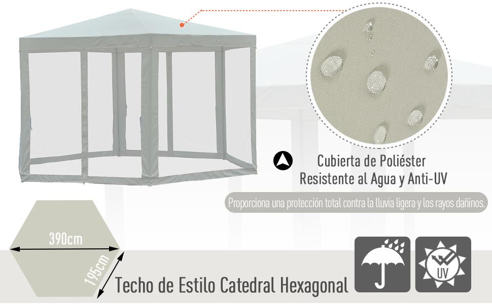 Outsunny Carpa Gazebo Tipo Cenador Hexagonal con Mosquitera para Jardín y Terraza φ3.9m Material de Poliéster Repelente al Agua (Crema): Amazon.es: Jardín