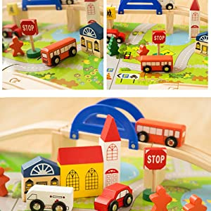 Toyshine Wooden Rail Overpass Train Track Set 40 Pieces Traffic Scene Toy …
