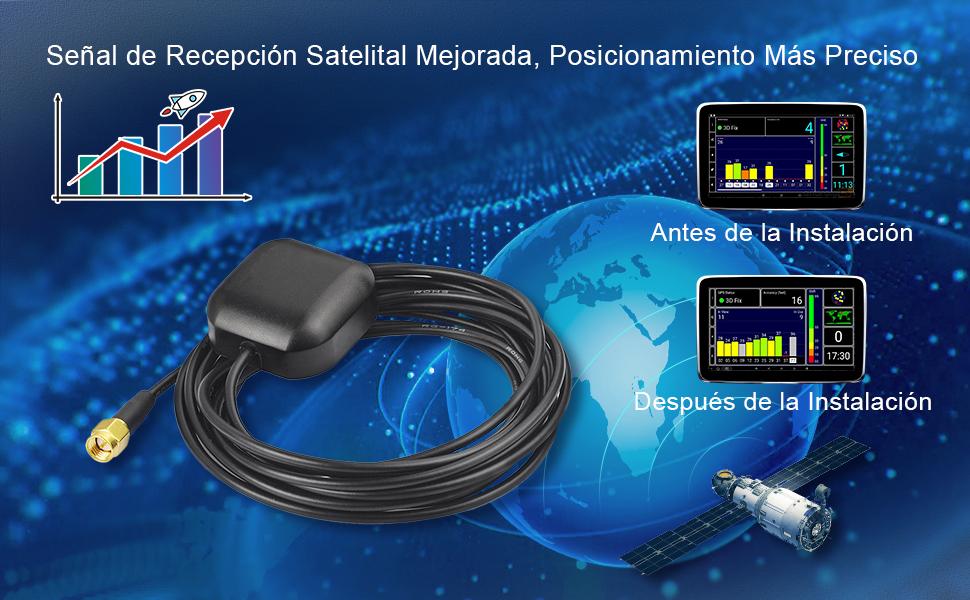 Señal de recepción satelital mejorada, posicionamiento más preciso