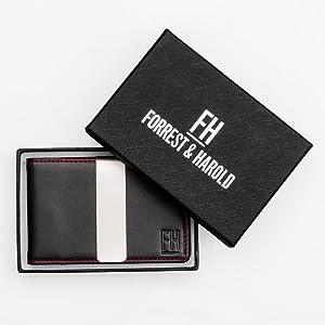 Forrest amp; Harold Money Clip Slim Wallet in Top Grain Leather