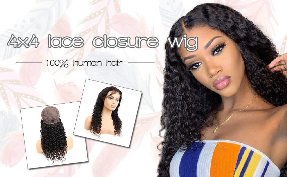 4x4 lace clsoure human hair wigs lace front wigs for black women!body wave,straight wave,deep wave,