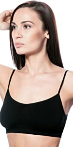 Women's Yoga Mini Cami Seamless Bra Microfibr Seamfree Stretch Bralette with Thin Strap