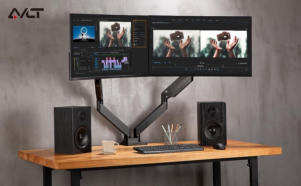 AVLT Dual Monitor Desk Mount - Holds Two 13
