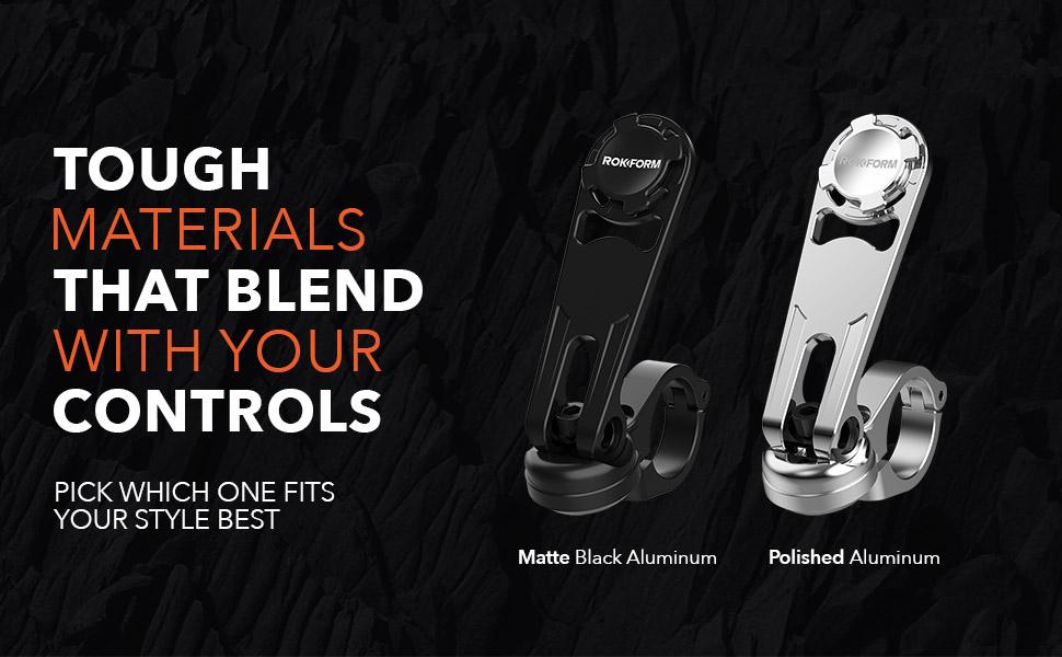 rokform motorcycle mount, handlebar mount, cell phone holder, bike mount, aluminum, tough, secure