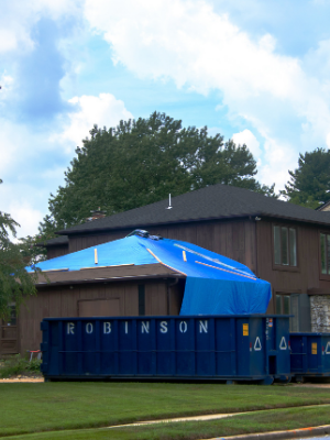 Safety Shark Tarp used as Temp Roofing Solution