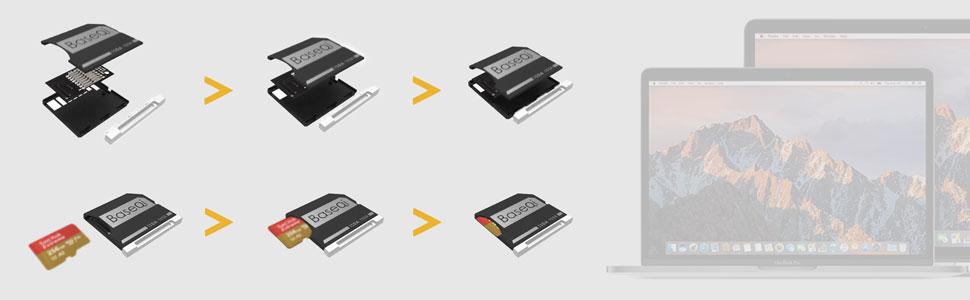 6x Baseqi micro SD adapter, 2x MacBook