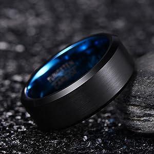 blue tungsten carbide rings