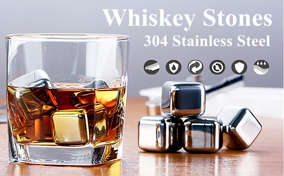 Beverage Chilling Stones Husband Birthday Perfect Chilling Rocks Whiskey Chilling Stones Whiskey Stones Reusable Ice Cubes 8PCS Gift Sets for Man and Woman Dad and Boyfriend