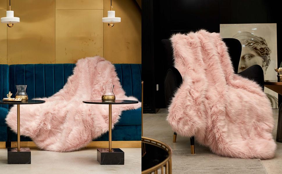 pink faux fur blanket throw