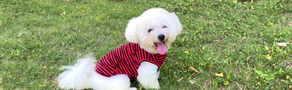 Dog shirt cotton striped dog clothes tee shirt classic vest sleeveless t-shirt