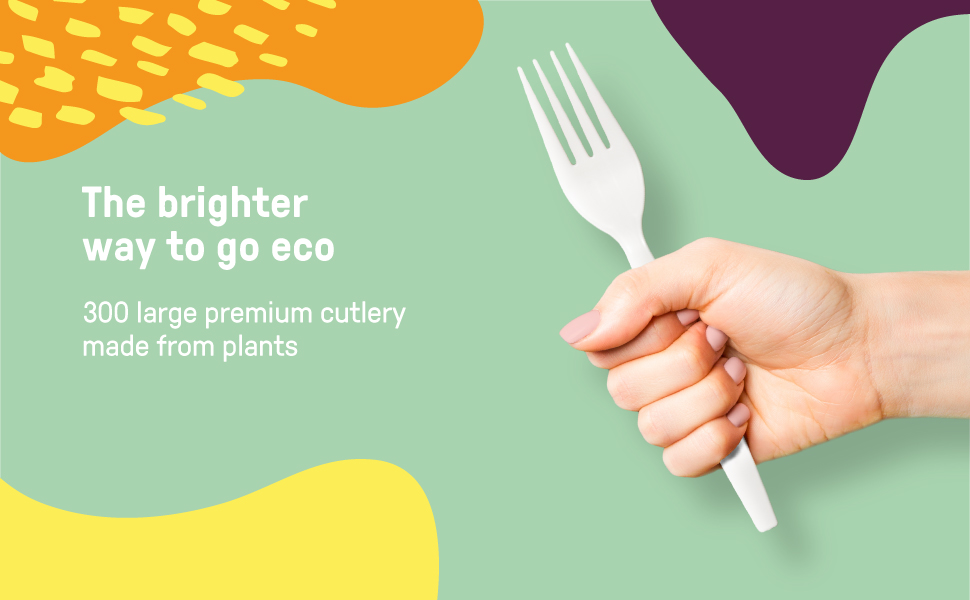 """EQO WARE 300 Compostable Cutlery 100% Biodegradable Disposable Cutlery 7"""" Plastic Utensils"""